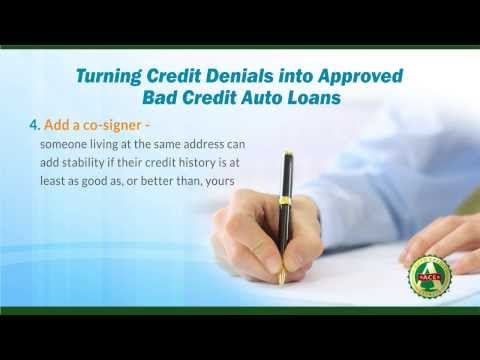 denials - In this video, Auto Credit Express discusses how getting turned down for a bad credit auto loan is not necessarily the end of the road. For more helpful tips...