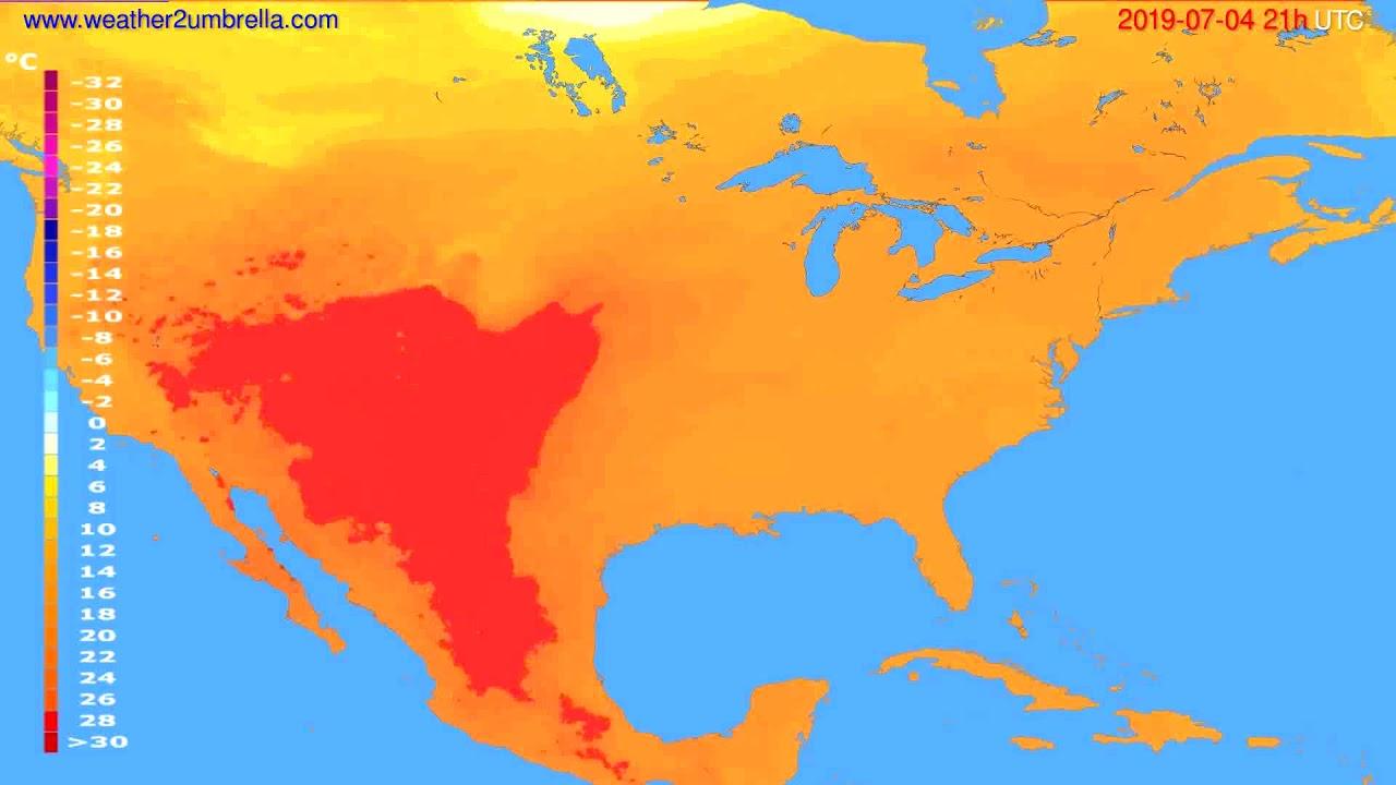 Temperature forecast USA & Canada // modelrun: 00h UTC 2019-07-03