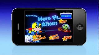 Available on the App Store: http://itunes.apple.com/us/app/heroe-vs.-aliens/id425111275?mt=8Astro Guy is a hero in space and his mission is to save the planet from the invasion of the aliens!This challenging and super fun game requires the player to be very fast and alert in order to succeed and score as many points as possible. It is very simple to play as it requires one finger to move Astro Guy up and down, and another finger to either shoot the aliens with our hero's laser gun or protect him with a bubble shield from the enemies.- Game Center that allows you to compete with friends for the highest scores- Indefinite Gameplay- Three kinds of fierce UFO enemiesPurchase Hero Vs. Aliens for a super addictive experience and many hours of fun and gameplay!