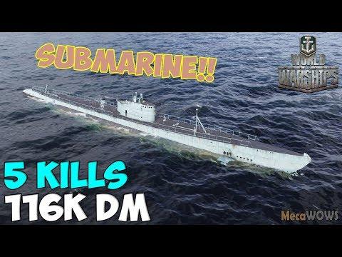 World of WarShips   Cachalot   5 KILLS   116K Damage - Submarine Replay Gameplay 4K 60 fps