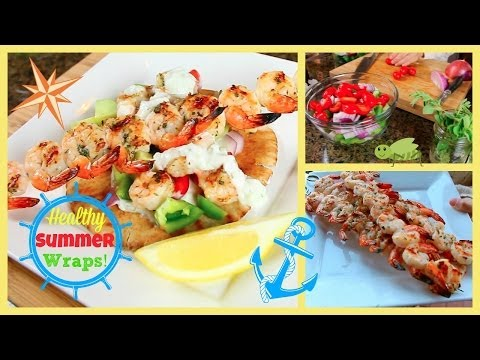 Healthy Summer Prawn Souvlaki Wrap | Under 500 Calories!