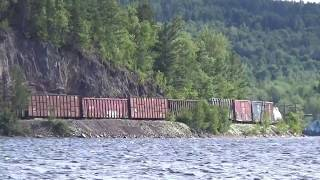 8144,2226,6200 haul 89 cars westbound on the McAdam Sub. I chased this train from it's starting point, Saint John, to Harvey, NB.