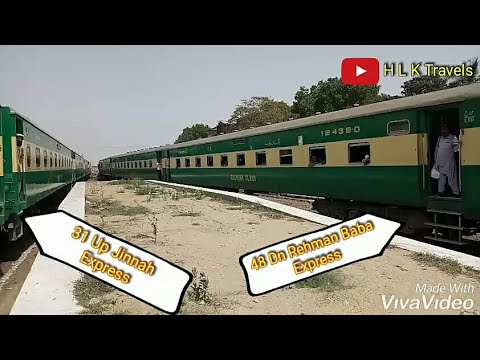 Both 48 Dn Rehman Baba Express And 31 Up Jinnah Express Arriving In Karachi Cantt in Parallel action