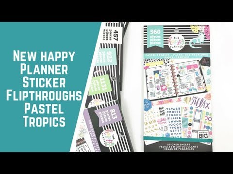 Happy quotes - Pastel Tropics- NEW HAPPY PLANNER STICKER FLIPTHROUGHS