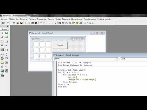Crear una Matriz o Array Bidimensional en Visual Basic 6.0 - HD
