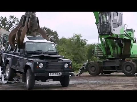 Watch the Feds destroy an illegally imported Land Rover Defender