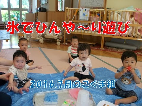 八幡保育園(福井市)こぐま組(0歳児)が氷やヨーヨーで遊んでみました。2016年7月の園の日常