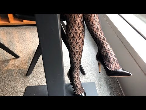 Candid Pantyhose And High Heels Dangling