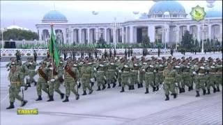 Turkmenistan celebrates the 23th anniversary of its independence with a military parade in Ashgabat. Recorded from Yaslyk TV,...