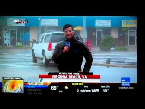 Hombre del tiempo informando en directo del huracán Irene, troleado