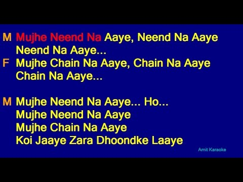 Mujhe Nind Na Aaye - Udit Narayan Anuradha Paudwal Duet Hindi Full Karaoke With Lyrics