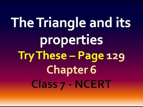 Try these - Page 129 - chapter 6 - Triangle and its properties - class 7 - maths -ncert