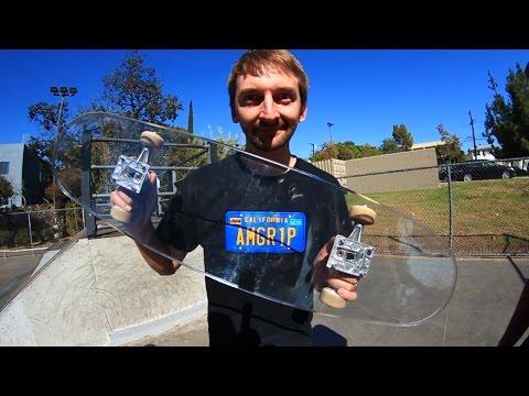 Guys from Braille Skateboarding skate a bulletproof glass skateboard
