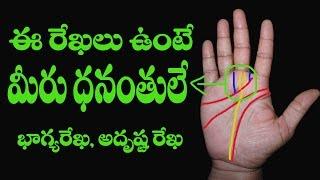 Dhana rekha   మీ అరచేతిలో అదృష్టము   telugu palmistry   astrology   luck line