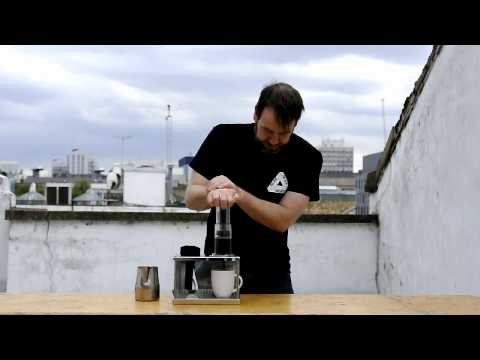 Gwilym Davies Demonstrating the Aeropress Coffee Maker