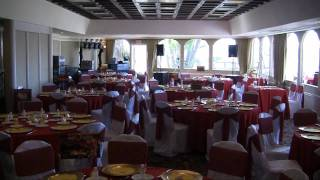 How the Del Mar room is typically set up for a wedding, with footage of the ceremony site after.