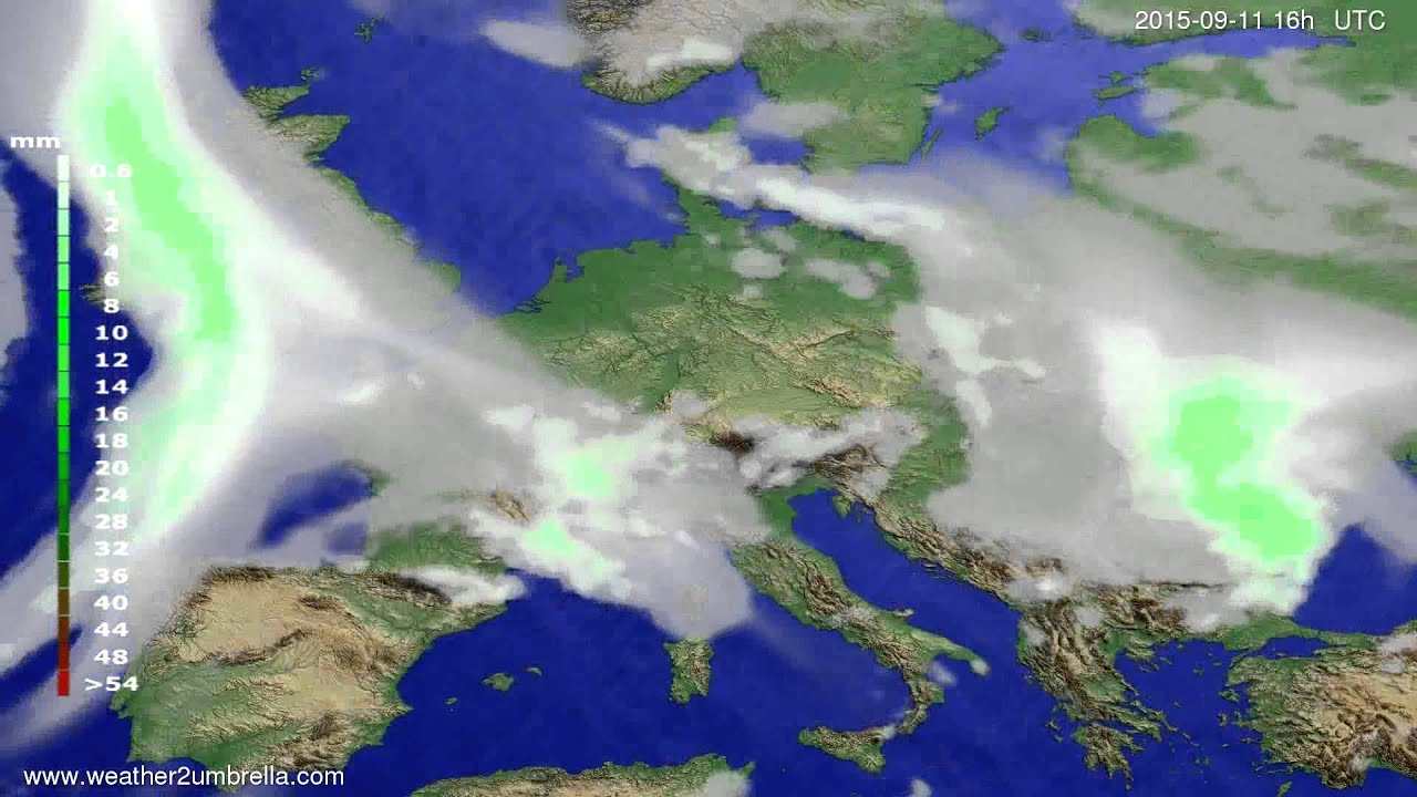 Precipitation forecast Europe 2015-09-08