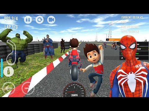 Jogo de Corrida de Moto Com Ryder da Patrulha Canina vs Super Heróis - Android Gameplay
