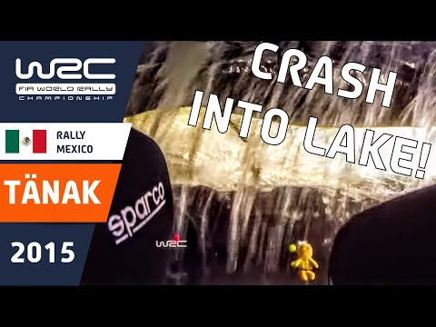 wrc rally mexico 2015: tanak crash in the lake - onboard camera
