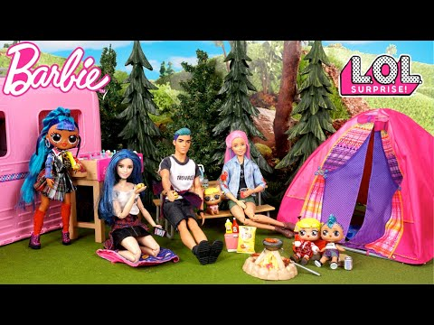 LOL Baby Goldie & Punk Boi Camping Outdoor Vacation with Barbie Family