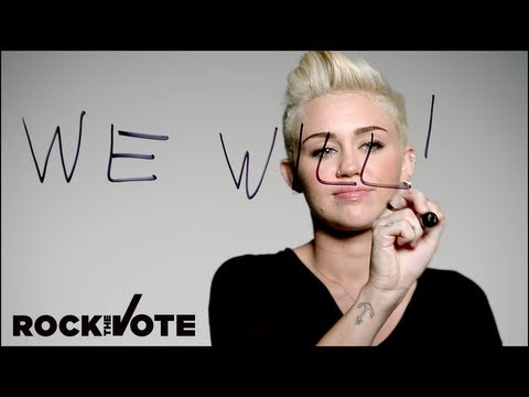 Miley Cyrus rocks the vote