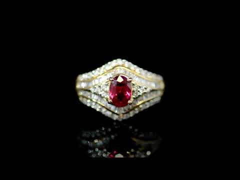 Lady's 18k Rose Gold 0.84ct Ruby and Diamond Ring