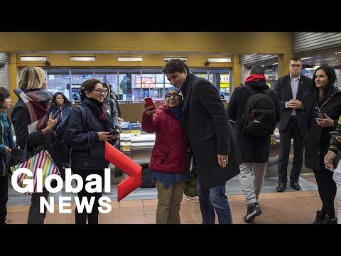 Canada Election Trudeau greets supporters at Metro station following election win