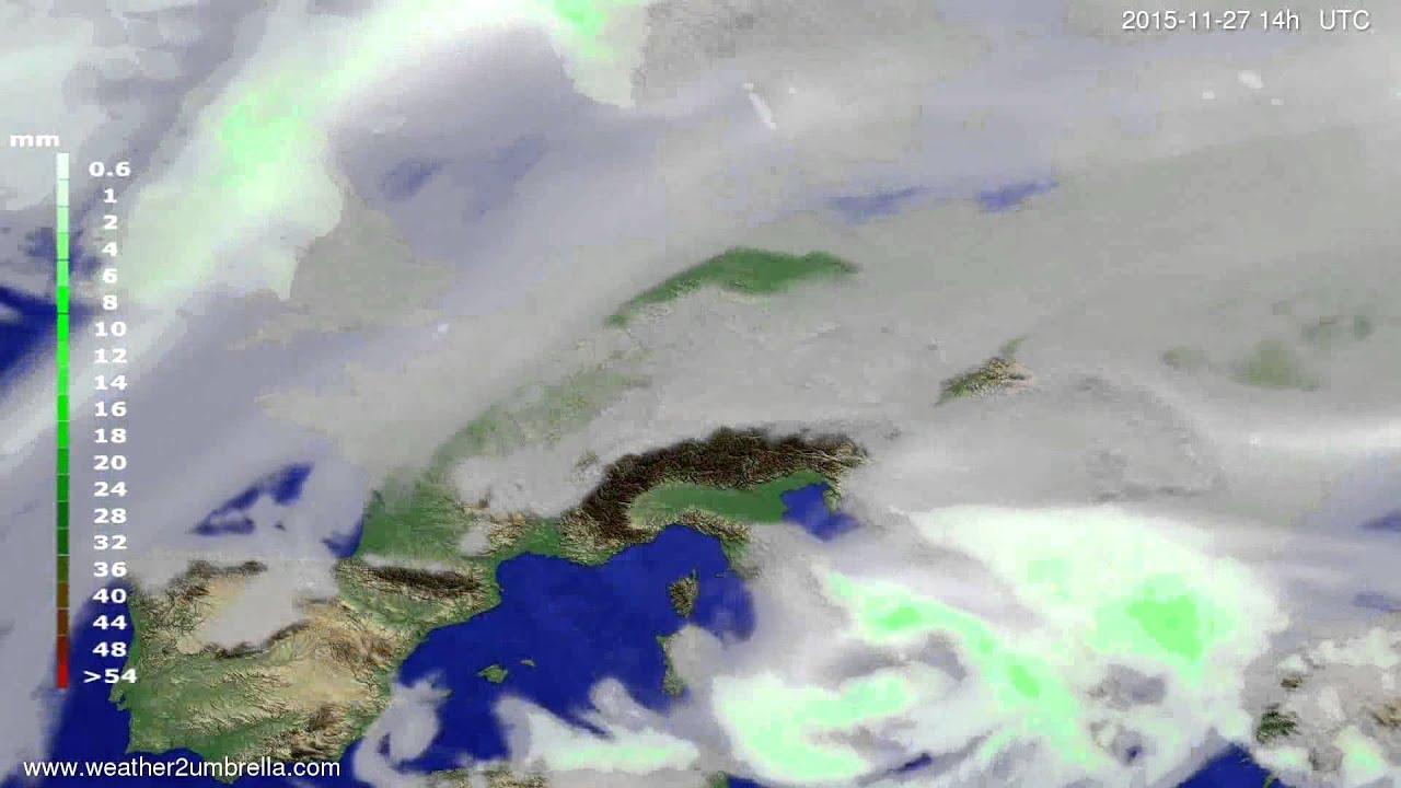 Precipitation forecast Europe 2015-11-23