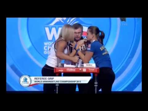 Победная схватка Шлижевской на чемпионате мира по армрестлингу