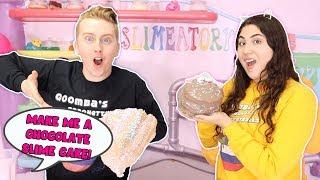 MAKE ME A SLIME CAKE CHALLENGE! Slime baking Slimeatory #575