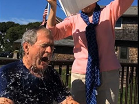 Bush - Accepting the challenge of his daughter and others, former Pres. George W. Bush became the latest famous figure to have ice water dumped on his head to raise...