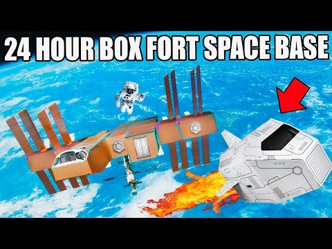 24 HOUR BOX FORT SPACE BASE CHALLENGE!! 📦🚀  Visiting A Planet, Box Fort Lander & More! (видео)