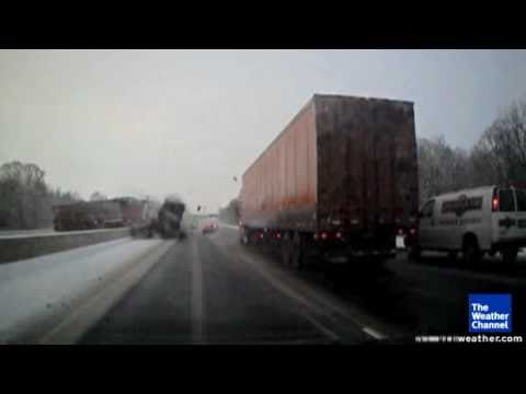 Watch Big Rig Crash On Black Ice