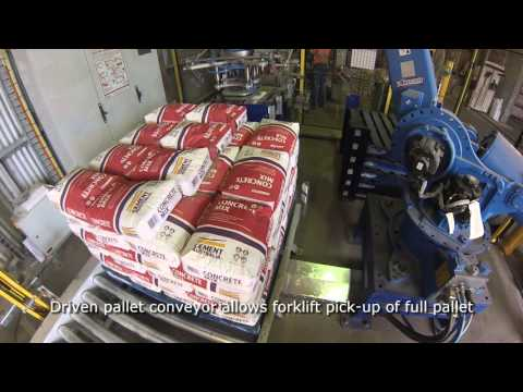 A robotic palletising system for bags of cement.