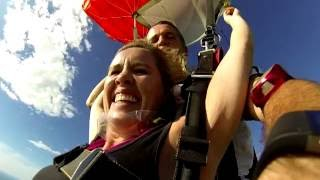 Joanne on her Darwin skydive over Lee Point Beach with Top End Tandems.