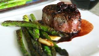 Steak braten mit Rotwein Sauce