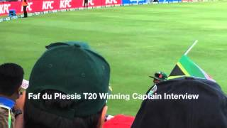 Faf du Plessis T20 Winning Captain Interview, England South Africa cricket 21 February 2016