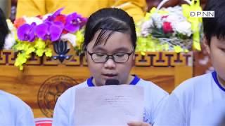 Khóa sinh Búp Sen Từ Bi Lê Cảnh Giang Thy đọc thư mừng ngày tiếp nối Thầy Nhật Từ