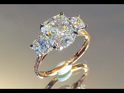3 carat Cushion Cut Diamond 3-Stone Engagement Ring