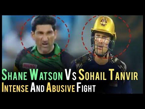 Fight Between Sohail Tanvir And Shane Watson | Abusive Fight In Cricket | PSL 2018| Multan Vs Quetta (видео)