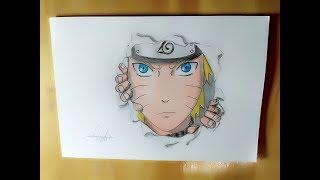 mnggambar naruto dengan efek 3d keluar dari kertas /how to  Drawing naruto with effect out of paper