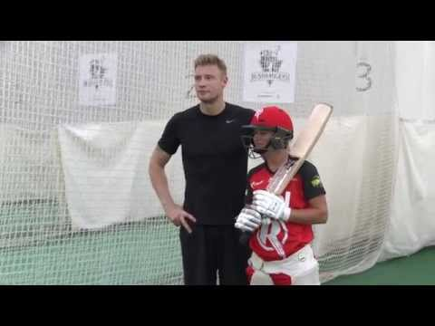 Andrew Flintoff joins Danni Wyatt in the nets