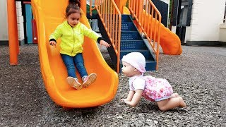 Video Walking Baby Doll at Playground / Cry Baby Accident on Slide MP3, 3GP, MP4, WEBM, AVI, FLV Mei 2017