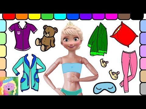 Play Dress Up With Elsa | Elsa Gets Ready For Bed | Learn Colors | Learn Simple Clothes Names