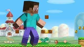 A hack for New Super Mario Bros Wii that allows you to play as Steve from Minecraft, with a code that makes the playable character gigantic. This hack was created by StupidMarioBros1Fan, his channel can be found here: https://www.youtube.com/user/StupidMarioBros1Fan-My Twitter https://twitter.com/Typhlosion4Pres