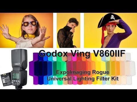 Cum lucrezi cu Godox Ving V860IIF si la ce ajuta ExpoImaging Rogue Universal Lighting Filter Kit