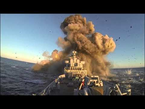 Impressive Video of a missile blowing up a Norwegian Navy