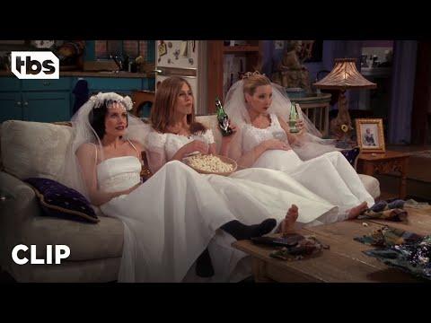 Friends: Three Single Girls in Wedding Dresses (Season 4 Clip) | TBS