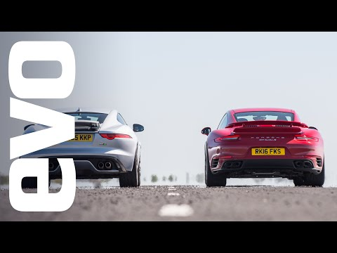 porsche 911 turbo s vs jaguar f-type r awd - drag battle