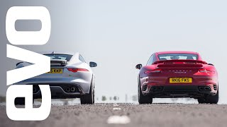 Jaguar F type R AWD vs Porsche 911 Turbo S - which is fastest? | evo DRAG BATTLE by EVO Magazine